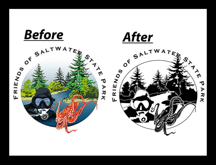 FRIENDS OF SALTWATER black and white vector